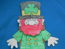 Paper Leprechaun made onto a brown lunch bag