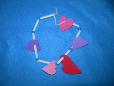 Straw and paper hearts necklace