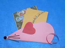 Pink Paper Valentines mouse with heart ear
