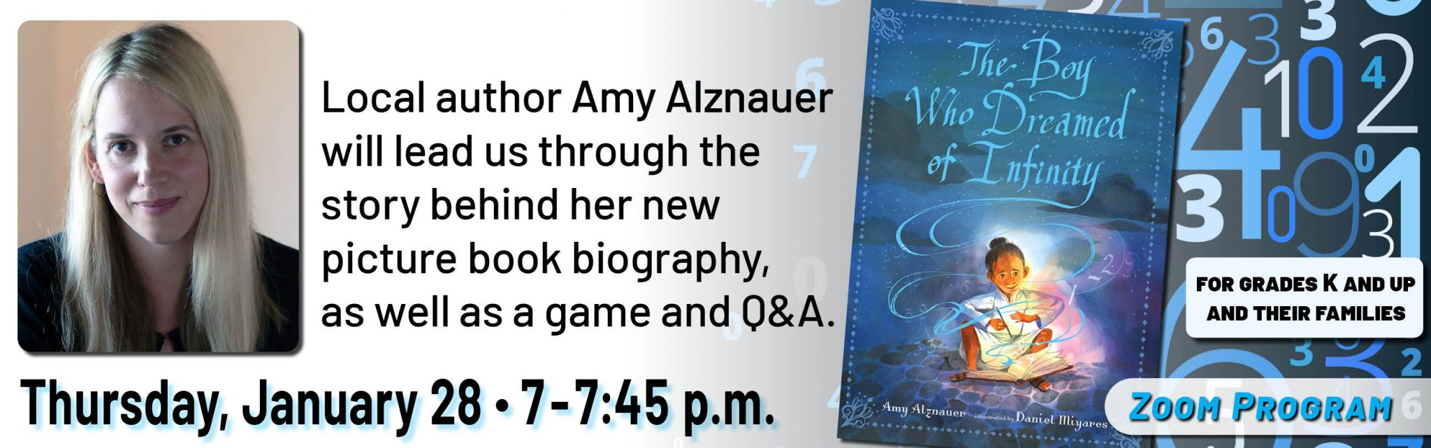 Zoom Program: The Boy Who Dreamed of Infinity author event, Thursday, January 28 from 7 to 7:45 p.m.