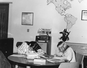 Girls studying at table 1972