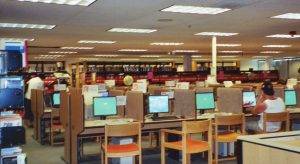 Photograph of Adult Services public computers at Feehanville 2003