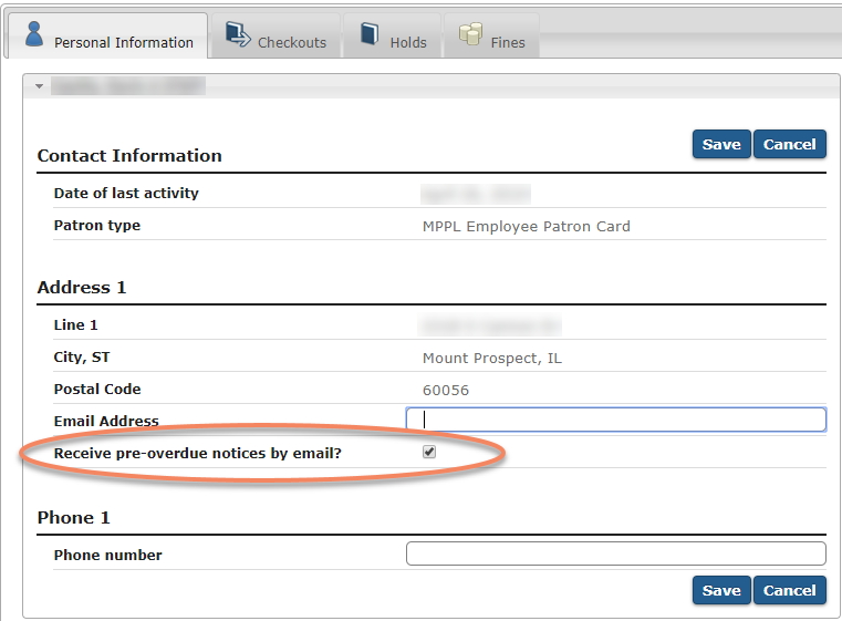 Receive pre-overdue notices by email checkbox