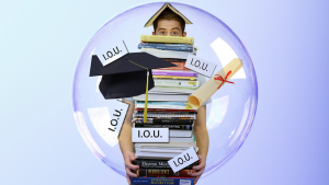 guy in a bubble holding a stack of textbooks surrounded by a diploma, graduation cap, and a bunch of I.O.U. signs.