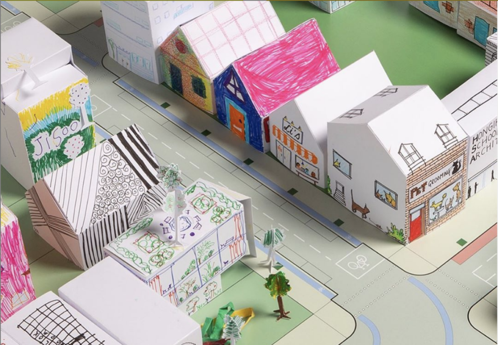 3-D city made of paper