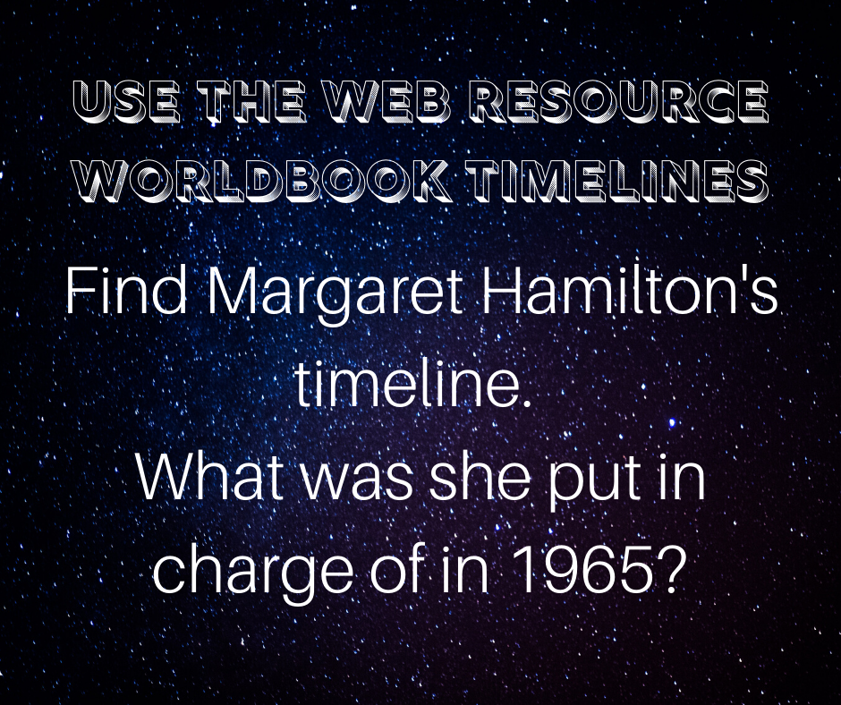 Use the web resource worldbook timelines: Find Margaret Hamilton's timeline. What was she put in charge of in 1965?