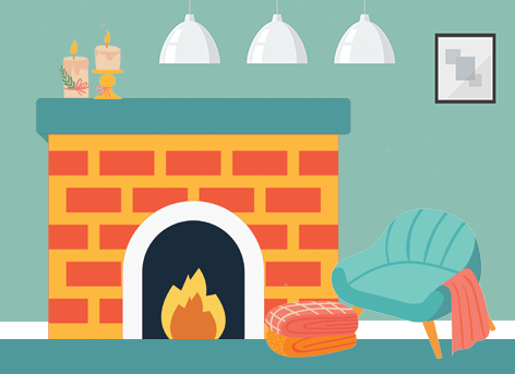 illustration of a cozy turquoise chair in front of a brick fireplace with a stack of blankets