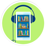a bookcase with headphones