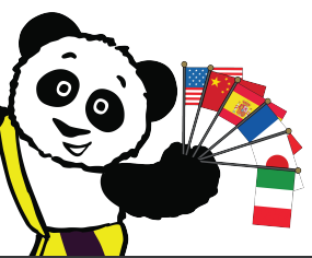 Little Pim Panda waving multiple country flags
