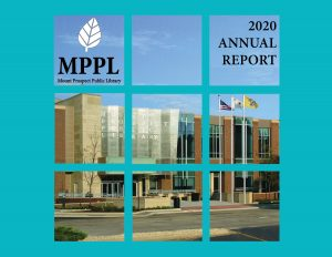 cover of annual report - picture of library