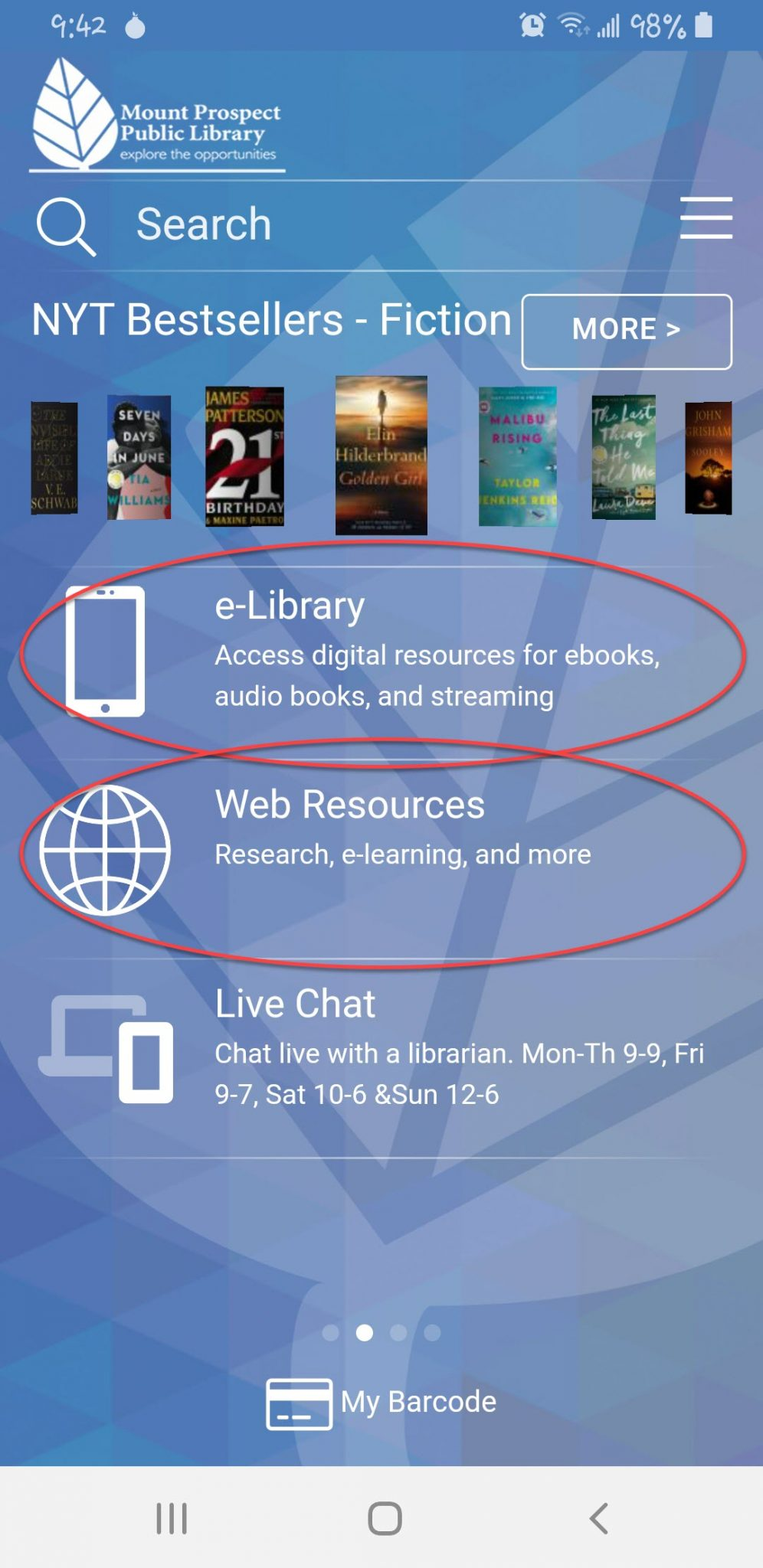 e-library and web resources highlighted on 2nd home screen