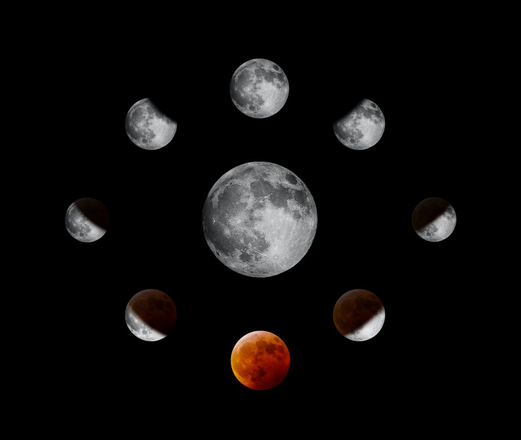 the moon in different phases of eclipse