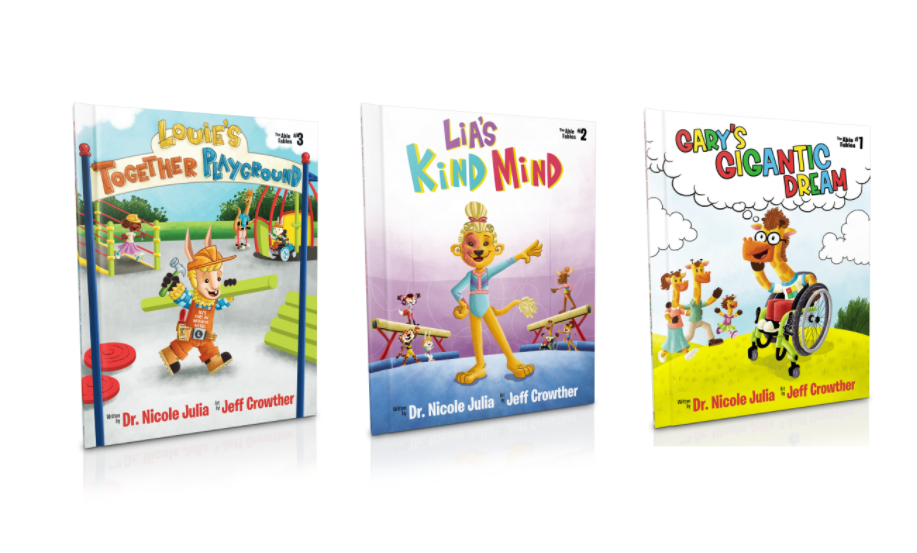 Louie's Together Playground, Lia's Kind Mind, and Gary's Gigantic Dream book covers (The Able Fables series)
